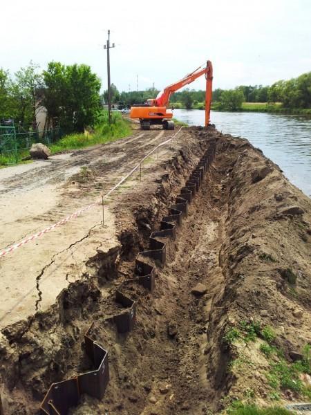 realizacja wzmacniania wału przeciwpowodziowego